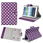 Aokdis Universal Polka Dot Leather Stand Case Cover For Android Tablet PC 7 inch (purple)