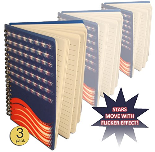 American Flag Flicker Effect Journal Notebook Diary - Wholesale Bulk Pack of 3