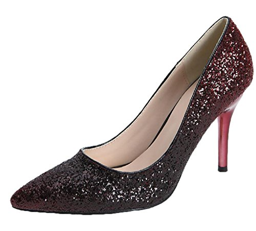 Littleboutique Sparkly Two Tone Metallic Evening Pumps Pointed Toe Dress Pump Sequined Bridal Shoe Prom Heels Burgundy 7.5