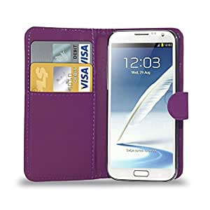 GBOS SAMSUNG GALAXY NOTE 2 LEATHER WALLET BOOK FLIP CASE COVER POUCH CARD & CASH SLOT PURPLE