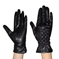 Womens Warm & Weatherproof Insulated Winter Leather Gloves with Interior Lining - Black (Size: M)