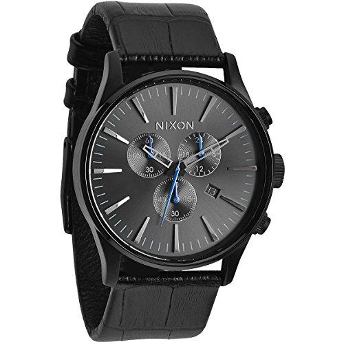 nixon-a4051886-00-montre-homme-quartz-chronographe-bracelet-cuir-noir