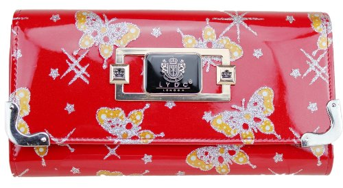LYDC LADIES DESIGNER SPARKLY CLUTCH PURSE WALLETS (RED)
