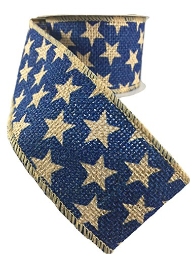 Navy Blue and Natural Burlap Star Wired Ribbon Roll (2.5 Inches x 15 Feet) Pack of 2