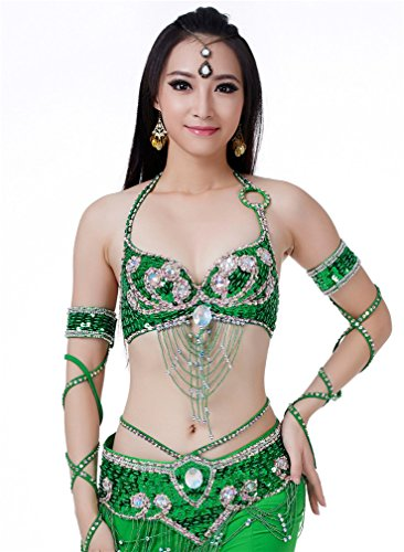 Dreamspell Beautiful Professional Belly Dance Green 3pcs Bra/Waist Chain/Skirt