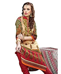 Rudra Textile Women's Beige Cotton Churidar Suit
