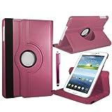 """Stuff4 MR-GT37.0-L360-DP-STY-SP Housse avec rotation à 360° pour Samsung Galaxy Tab 3 7"""" (T210 / T211 / P3200 / P3210) Film de protection et Stylet inclus Rose Foncé"""