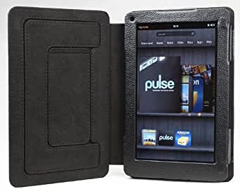 YooMee Black Amazon Kindle Fire 7 Inch Android Tablet Leather Case Cover Folio with Multi-Angle Stand (Black Interior)(NOT Compatible with Fire HD)