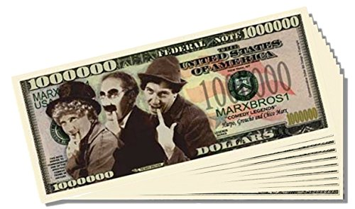 Marx Brothers Million Dollar Bill - 10 Count with Bonus Clear Protector & Christopher Columbus Bill - 1