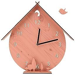 Silent Non-Ticking Wooden Wall Clock Unminuto - Cuckoo Garden (Pink)