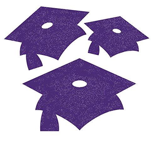 Creative Converting 12 Count Glitter Graduation Cap Cutouts, Mini, Purple