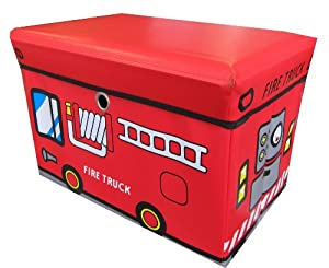 Global Decor Toy-Story Kid Decor Children's Storage Container/Stool, Fire Truck