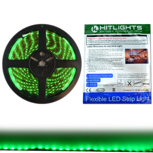 Hitlights Weatherproof Green Smd3528 Led Light Strip - 300 Leds, 16.4 Ft Roll, Cut To Length - 72 Lumens Per Foot, Ip65, Requires 12V Dc