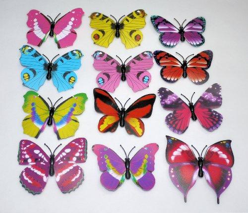 【中国雑貨】 色鮮やかな蝶のマグネット★バタフライマグネット★12柄取り混ぜ