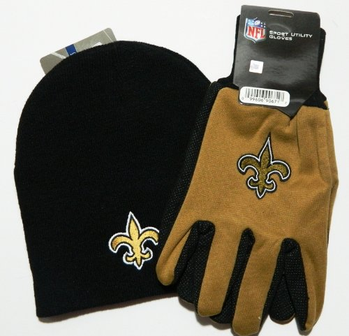 New Orleans Saints NFL Licensed Black Knit Beanie and Utility Glove Set Hat Gift at Amazon.com
