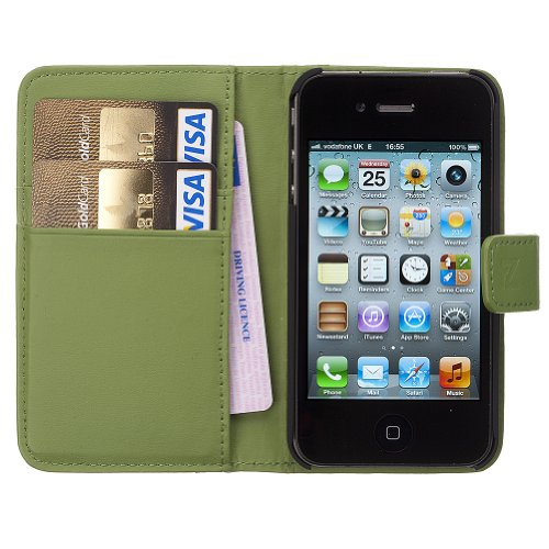 Fonerize Womens Leather Wallet and iPhone 4 4S Case plus Card Holder in Hot Green