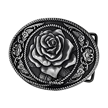 Buckle Rage Adult Womens Western Vintage Rose Ornate Rope Belt Buckle Silver