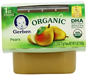 Gerber 1st Foods Organic Pears, 2-Count, 2.5-Ounce Tubs (Pack of 8)