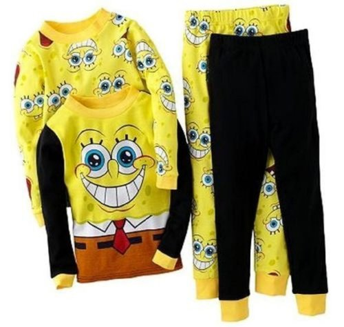 Spongebob Squarepants Little Boy 4 PC Long Sleeve Pajama Set