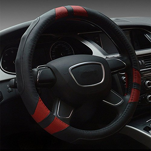 Dee-Type Leather Steering Wheel Cover Universal 15 inch Black & Red (Leather Red Steering Wheel Cover compare prices)