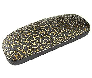 niceEshop(TM) Clamshell Filigree Embossed Hard Sunglasses Case,Black&Gold