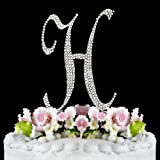Completely Covered Swarovski Crystal Silver Wedding Cake Toppers ~ LARGE Monogram Letter H