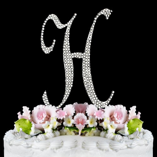 Completely Covered Swarovski Crystal Silver Wedding Cake Toppers ~ Large Monogram Letter H back-699699