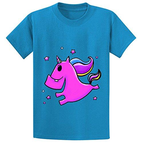 Fab Yoo Lous Unicorn Teen Crew Neck Graphic T-shirt Blue