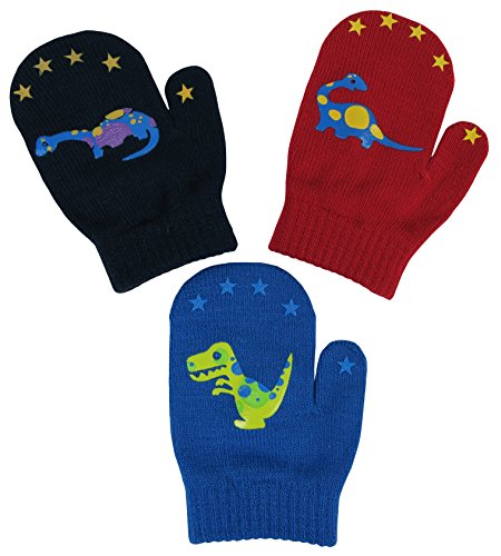 N'Ice Caps Little Boys and Infants Magic Stretch Mittens 3 Pairs Assortment (6-18 Months, Dinos - Red/Royal/Navy)