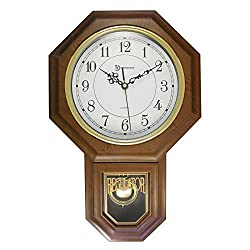 17 Essex Westminster Faux Wood Pendulum Wall Clock w/ Glass Face, Walnut
