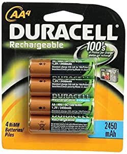 Duracell Rechargeable StayCharged AA Batteries, 2450 mah 4 Count