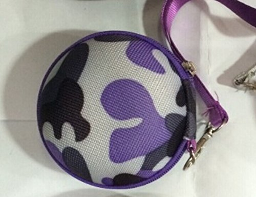 Noarks Smart Camo Pattern Portable Earphone / Usb Cable / Mp3 Smart Mesh Bag Mobile In-Ear Headset Stereo Wired Sport Bag Holder Pouch Hold Box Pocket Hard Hold Protection Headsets Hard Eva Carrying Case/Bag (C-Camo Purple)