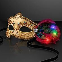 Gold Mardi Gras Masquerade Masks with Light Up LED Feathers Set of 12