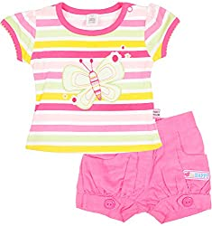 Toffy House Baby Boys' T-Shirt With Trousers Set (122_1-3 Months, Baby pink, 1-3 Months)