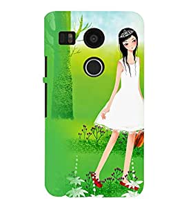 Printvisa Girl With A Violen In A Forest Back Case Cover for LG Google Nexus 5X::LG Google Nexus 5X (2nd Gen)
