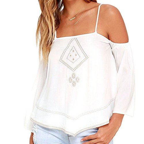 Gritu Womens Sexy Embroidery Straps Loose Off Shoulder Shirt Blouse Top White M (H And M Fancy Dress)