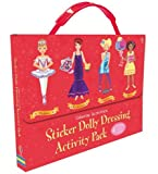Fiona Watt Usborne Sticker Dolly Dressing Activity Pack - (RED), Dancers, Movie Stars, Popstars, Parties (4 mini format paperback books in carry case)