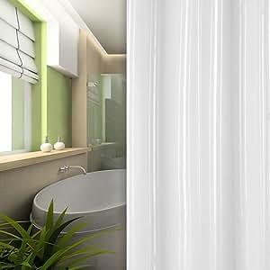 textile rideau de douche blanche rayé 120x200 cm bagues inclue 120 x 200!