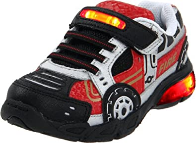 Stride Rite Vroomz Fire Truck Lighted Sneaker (Toddler/Little Kid),Red/Silver,6 M US Toddler