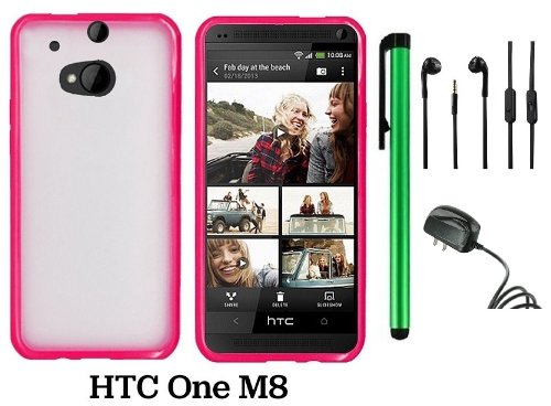 Htc One M8 Premium Transparent Clear Composite Material Back Cover Case (For 2014 Htc New Flagship Android Phone) + Travel (Wall) Charger + 3.5Mm Stereo Earphones + 1 Of New Assorted Color Metal Stylus Touch Screen Pen (Pink Tpu Edge With Clear Plastic Mi