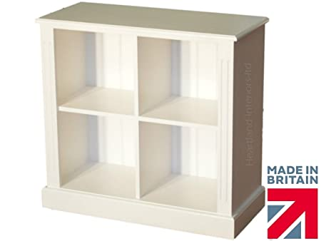 Solid Pine Bookcase, White Painted LP Vinyl Record Display Shelving Unit. No flat packs, No assembly (BK11)