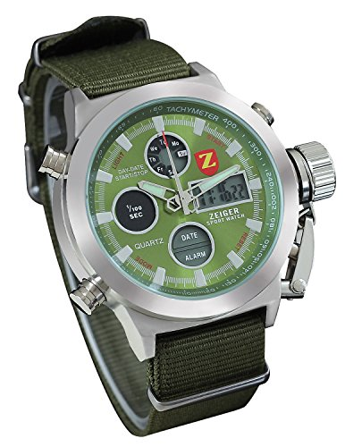 Zeiger-Mens-Unusual-Vietnam-Military-Sport-Wrist-Watch-Forces-Marine-Corps-Swiss-Army-Big-face-for-Boyfriend-Dual-Time-Nylon-BandGreen