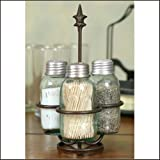 Colonial Tin Works Fleur de Lis Mason Jar Salt, Pepper and Toothpick Caddy