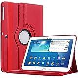 Bestwe 360° Ledertasche Flip Case Tasche Etui für Samsung Galaxy Tab 3 10.1 mit Ständerfunktion -Multi Color Options (Rot)
