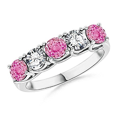 RS JEWELS 14k White gold plated Half Eternity Five Stone Pink Sapphire and CZ Diamond Wedding Ring In 925 Sterling Silver (J) (P)