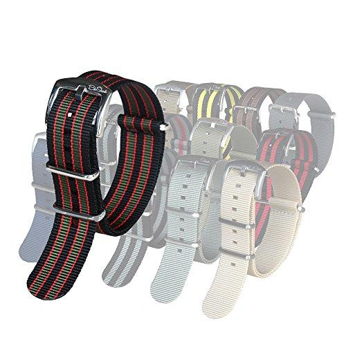 blushark-22-mm-cinturino-per-orologio-vintage-bond-nylon-militare-colore-nero-rosso-verde-oliva