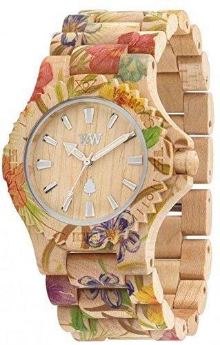 WeWOOD Date Flower Beige Wooden Watch