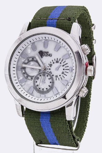 TRENDY FASHION STRIPE WEBBING STRAP SPORTS WATCH BY FASHION DESTINATION
