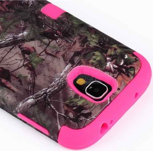 myLife TM Rose Pink - Brown Tree Camouflage Design 3 Piece Hybrid Hard and Soft Case for the Samsung Galaxy S4 Fits Models I9500 - I9505 - SPH-L720 - Galaxy S IV - SGH-I337 - SCH-I545 - SGH-M919 - SCH-R970 and Galaxy S4 LTE-A Touch Phone Fitted Front and Back Solid Cover Case Internal Silicone Gel Rubberized Tough Armor Skin Lifetime Warranty Sealed Inside myLife Authorized Packaging ADDITIONAL DETAILS This three layer Galaxy S4 armor skin gel fit together case is made of grip easy smooth silicone and hardshell plates that slide in to your pocket easily yet wont slip out of your hand