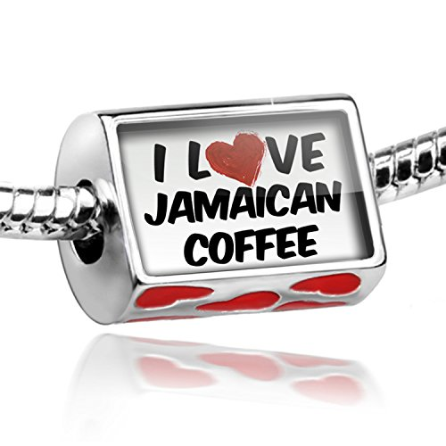 Bead With Hearts I Love Jamaican Coffee Cocktail - Charm Fit All European Bracelets, Neonblond